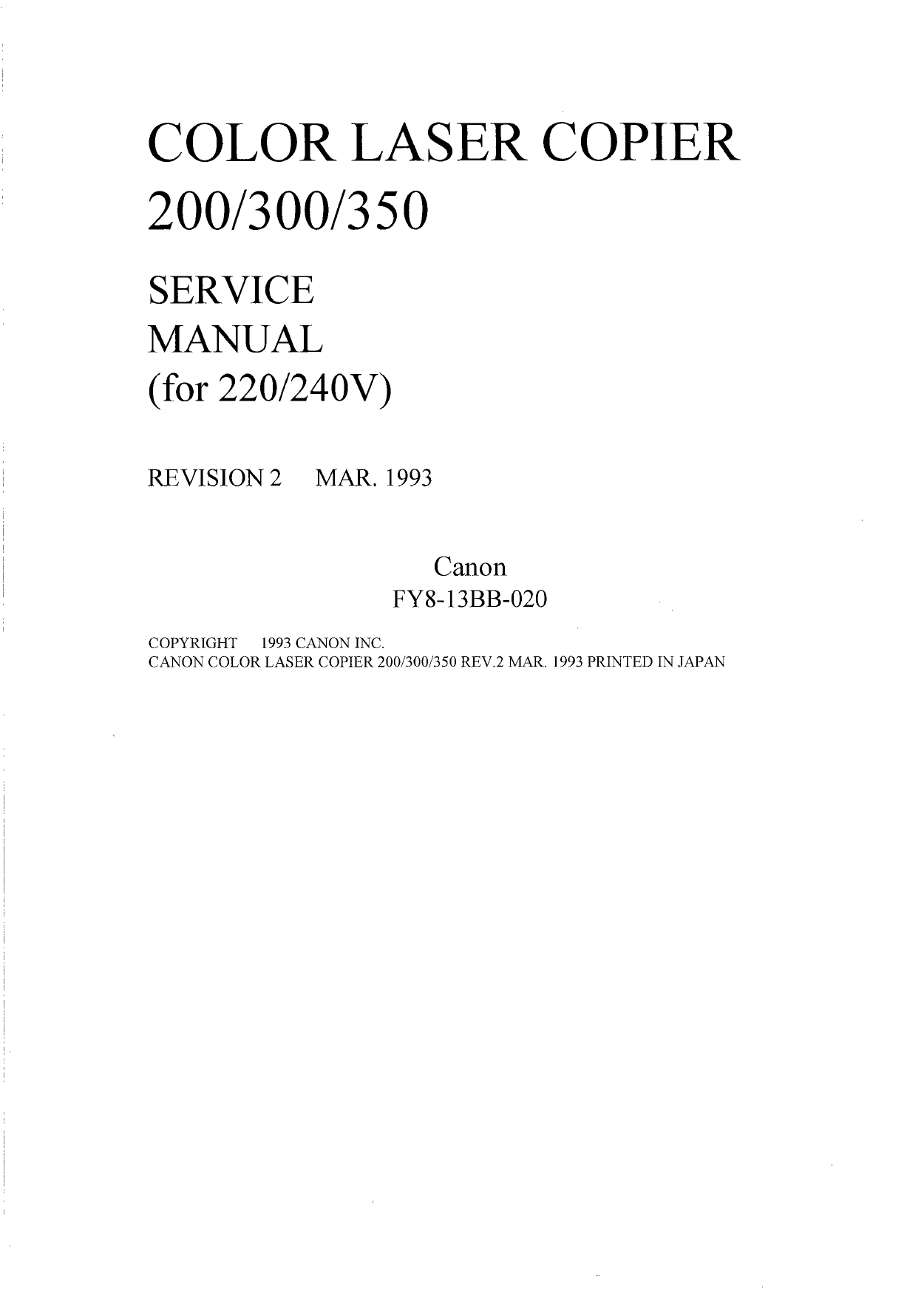Canon ColorLaserCopier CLC-200 300 350 Parts and Service Manual-1